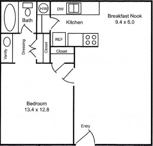 1 BDR/1 BA - 648 sq ft
